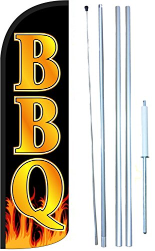 BBQ Windless Swooper Tall Feather Banner Flag Kit (11.5' Tall Flag, 15' Tall Hybrid Flagpole, Ground Mount Stake) by The Flag Depot