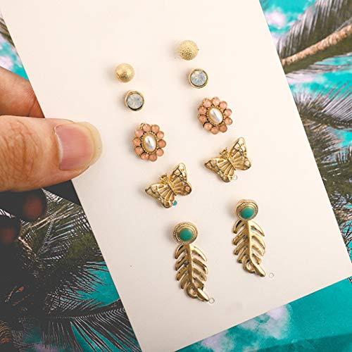 Earrings for Women for Birthday Women Bohemian Geometric Leaves Pearl Tassel Combination 6 Piece EarringsNovelty Jewellery for St.Patrick's Day in (B)