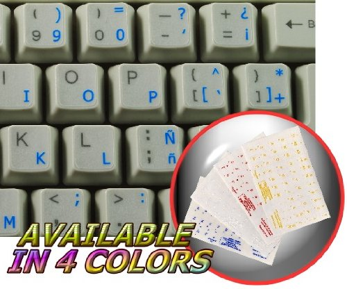 SPANISH (TRADITIONAL) KEYBOARD STICKERS WITH BLUE LETTERING ON TRANSPARENT BACKGROUND FOR DESKTOP, LAPTOP AND NOTEBOOK