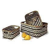 Set di 3 cestini portaoggetti in bambù intrecciati, fatti a mano, per casa, soggiorno, bagno, cameretta, lavanderia, giocattoli per bambini (Black Wave)
