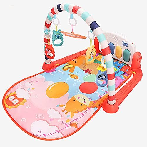 FLLKIHH Gimnasios para Bebés Y Tapete para Juegos De Actividades, Centros De Gimnasios para Patear Y Tocar El Piano con Música Y Luces, Tapete para Jugar, Juguetes para Bebés para Recién Nacidos,Rojo
