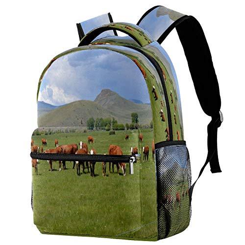 Polled Hereford - Mochila escolar con diseño de ganado en pastureland, motivo 1 (Multicolor) - bbackpacks004