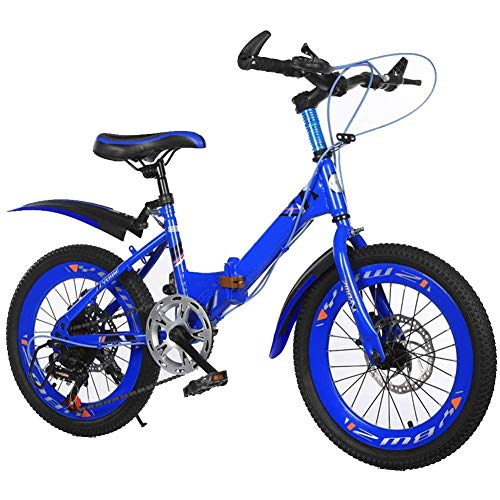 GBX Bicicleta, Scooter, 18/20 / 22 Pulgadas Bicicleta de Montaña para Niños Cuadro de Acero con Alto Contenido de Carbono Freno de Disco Doble de 6 Velocidades Bicicleta Plegable para Niños Y Niñas B