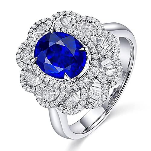 Daesar Damen Verlobung Ring 18K Weißgold Eckig, Blume Ring mit 3.06ct Oval Saphir Ehering Hochzeitsring Weißgold Diamant Gr.45 (14.3)