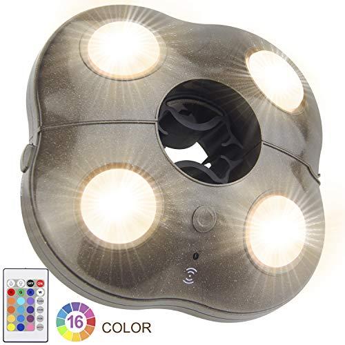 HONWELL LED Außenleuchten Sonnenschirm Beleuchtung Lampe Notlicht Dimmbar 16 Farben Zelt Licht Camping Beleuchtung Drahtlose Licht (braun) Batteriebetrieben für Garten Strand BBQ Party Camping