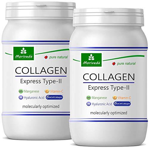 MoriVeda® NP-Vital Biocell Collagen Kapseln 1000mg 120 Stück, mit Express Formel – Enthält Collagen-II, Hyaluronsäure, Vitamin-C & Mangan I Für Haut, Haare & Gelenke (2 Monatspackungen) I 2x60 Kapseln