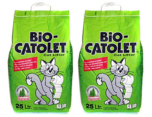 Bio-Catolet 2 x 25L 100% Recycled Paper Cat Litter...