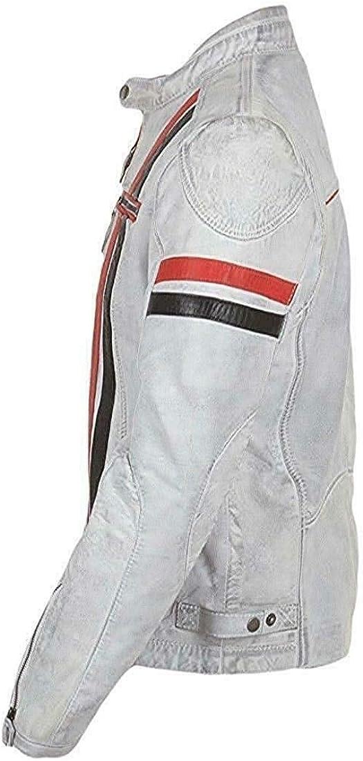 UGFashions Mens Vintage Cafe Racer Retro White Motorcycle Red Black Stripes Biker Cowhide Leather Jacket