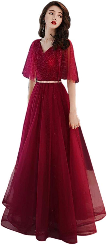 Drasawee Women's Half Sleeve Long Tulle Wedding Dress Glitter Waist Party Dresses