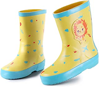 Minibella Kids Rain Boots Boys Girls Cute Animal Printed Rubber Boots
