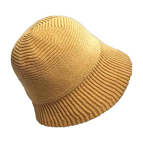 Bucket Hat Otoño E Invierno Vendimia Negro Punto Ajustable Cubo Ajustable Sombrero Femenino Todo Partido Pequeño A Lo Largo del Sombrero Pescador Sombrero Casual-Yellow