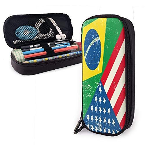 Estuche para lápices de cuero con bandera de EE. UU. Y Brasil, estuche para cosméticos de gran capacidad, estuche para bolígrafos con cremallera, práctico estuche para papelería