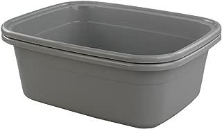 Begale 16 Quart Rectangular Plastic Wash Basins/Basin Tub, Set of 2 (Gray)