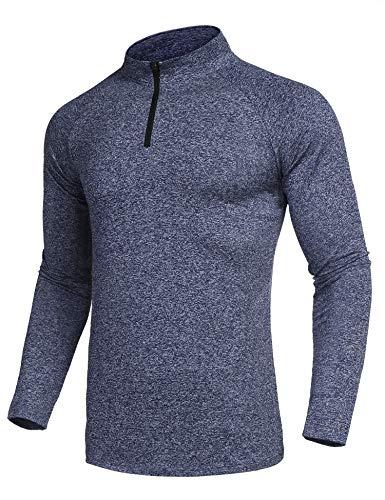 COOFANDY Men Quarter Half Zip Polo Workout Mock Turtle Neck Winter T Shirt