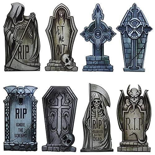 JOYIN Paquete de 8 Decoraciones de Patio de Lápida de Halloween, Letreros de PVC de 42 cm de Alto para Fiestas de Halloween, Casas Embrujadas, Cementerios