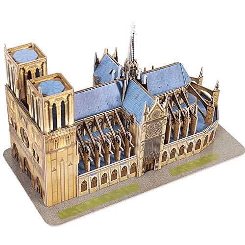 BENPAO Arquitectura mundialmente Famosa Notre Dame Kits de Modelos de construcción de guaridas en 3D para Adultos Modelo de artículos de decoración Puzzle Sin Pegamento Ornamento conmemorativo