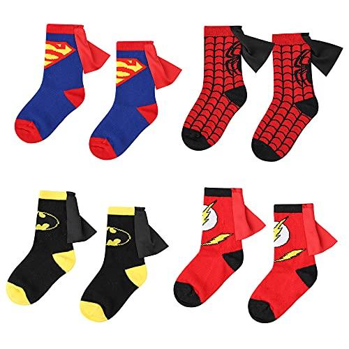 3-6 Years Old Kids Socks Cartoon Superman Spiderman Batman The Flash Design Children Cotton Socks Unisex Boys Girls (4-6 years old, Superhero Set)