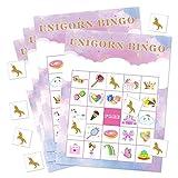 FEPITO Unicorn Bingo Game Unicorn Party Supplies Unicorn Bingo Cards con 24 Jugadores para niños Suministros de Fiesta de cumpleaños Favor de Fiesta mágica