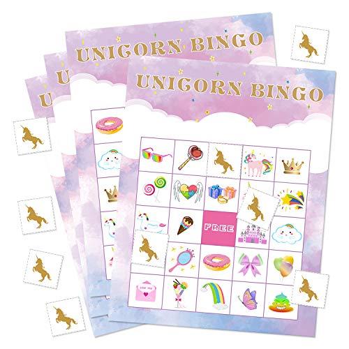 FEPITO Einhorn Bingo Spiel Einhorn Party Supplies Einhorn Bingo Karten mit 24 Spielern für Kinder Birthday Party Supplies Magical Party Favor