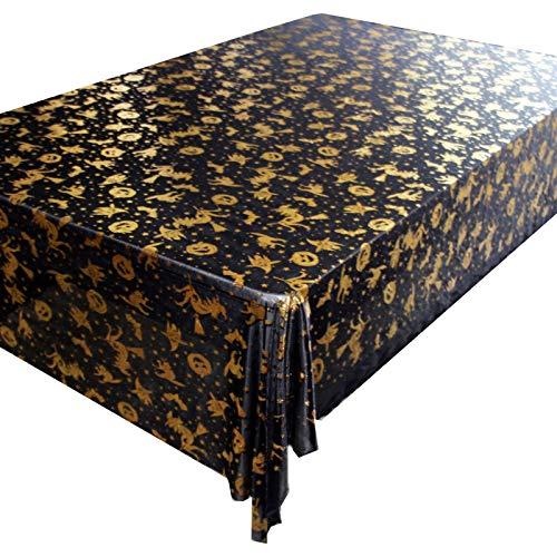 DJUX Tovaglia Decorazione Domestica Stile Europeo Lampada Zucca Arancione Pipistrello Halloween Divertente romanzo tovaglia Nera tovaglia 140 * 220 cm