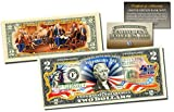 JULY 4th Independence Day Collectible Art Two-Dollar Bill 2-SIDED with COA & HOLDER