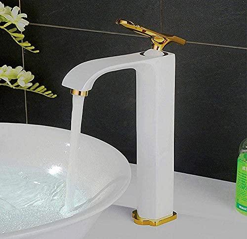 GAODINGD El Grifo Grifo de baño Grifo de Lavabo Cuarto de baño Faucet Faucet Completo Cobre Chapado en Oro de una Sola manija de Lavabo de Lavabo de un Solo Agujero. (Color : Platinum High)