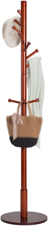 Coat Rack Solid Wood Floor-Standing Corridor Bedroom Living Room Continental Simple Hangers (color   Chocolate color)