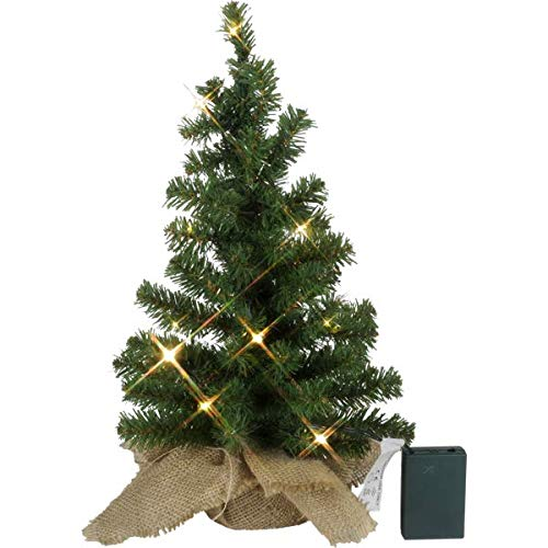 Kamaca - Árbol de Navidad con 10 luces LED, plástico, verde, im Jute Sack 45 x 25 cm