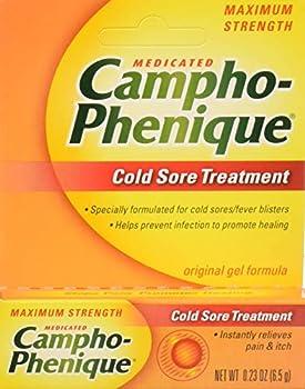 Campho-Phenique Cold Sore Treatment Maximum Strength Original Gel Formula Orange No Flavour 0.23 Oz