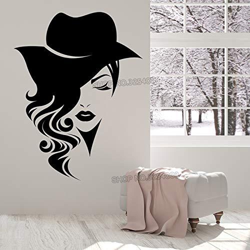 Grote vinyl sticker muursticker logo vrouwelijk gezicht met lang haar, versierd met hoed in modewinkel of salonstudio 84x109cm