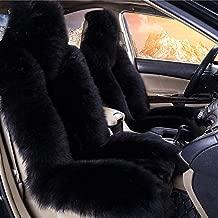 Gracefur Car Seat Cover Genuine Australia Sheepskin Luxury Wool Front Seat Covers Fits Car, Truck, SUV, or Van Black (1 Piece)