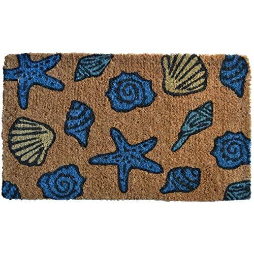 1 Piece 18x30 Blue Sea Shell Doormat Rectangle, Shells Starfish Design Welcome Door Mat Coastal Themed Decorative, Outdoor Carpet Durable Entranceway Nautical Seashells Summer Cottage Beach, Coir