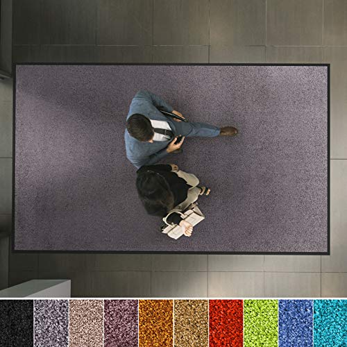etm Hochwertige Fußmatte | schadstoffgeprüft | bewährte Eingangsmatte in Gewerbe & Haushalt | Schmutzfangmatte mit Top-Reinigungswirkung | Sauberlaufmatte waschbar & rutschfest (90x150 cm, Grau)