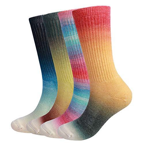 EnerWear 4 Pack Women's Merino Wool Outdoor Hiking Trail Crew Sock(US 9-11,Gradient Mix Color)