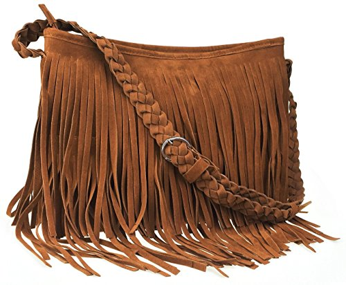 """Made of Suede. Vintage & Stylish Fringe Tassel Design. Size: 14.2"""" × 10.6"""" × 3.9"""". Shoulder Strap Length: 23.6""""-45.3"""". Structure: 1 inner zipper pocket, 2 inner pouches and a main compartments with zipper closure. Versatile: Great to be used as a sho..."""