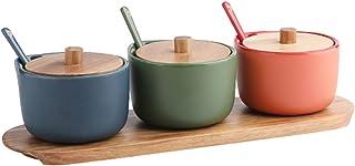 LXLTL 3 Pots D'épices, Céramique Ménagère Couvercle Et Plateau en Bambou Accessoire Table À Manger avec Cuillères pour Arm...