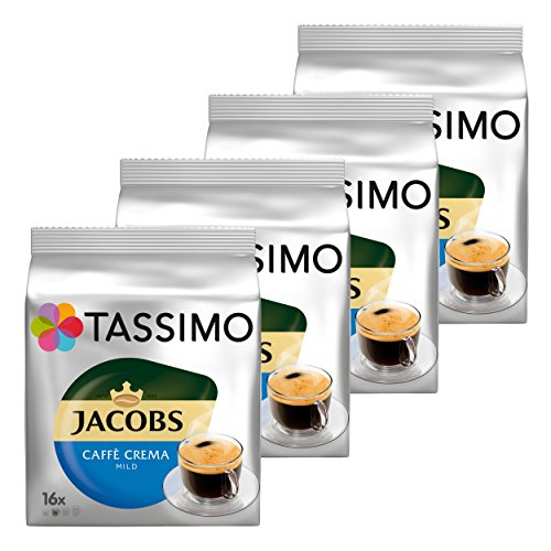 Tassimo Jacobs Caffè Crema Mild, Kaffee, Kaffeekapsel, gemahlener Röstkaffee, 4er Pack, 4 x 16 T-Discs