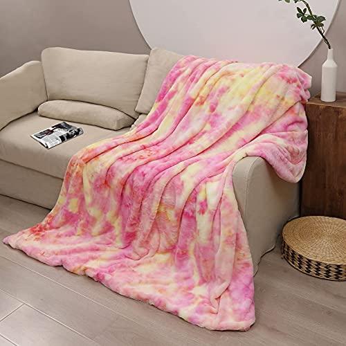 Manta Pelo, Manta Romántica Puesta de Sol con Diseño Tie Dye, 130 x 160 cm Manta de Cordero de Piel de Conejo Artificial de Doble Cara Súper Gruesa, Mantas para Sofa o Salónchao