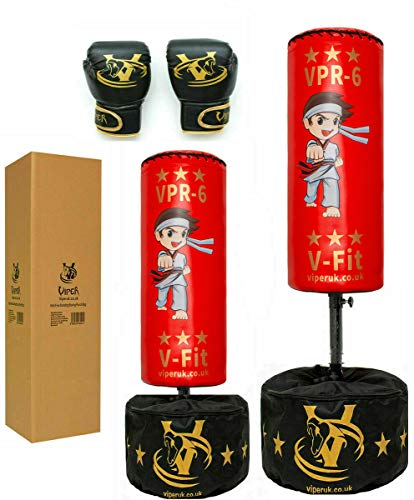 Viper Free Standing Kids Boxing Punch Bag Free Gloves Offer Red C