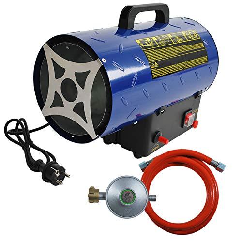 HELO Gasheizer Heizkanone 15 kW mit 320 m³/h Luftdurchsatz Piezozündung und Tragegriff, 700 mbar Arbeitsdruck und 1,09 kg/h Gas Verbrauch, Heißluftgenerator Set inkl. Gasschlauch und Druckminderer