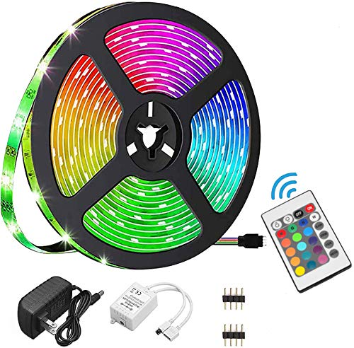 Houkiper Tiras LED 12V, 5m 150 LED SMD 5050, Luces LED Impermeable con Control Remoto,16 RGB Colores y 4 Modos Luces Led para Techo, Escaparate, Muebles,Pasillo Baño Armario Cocina