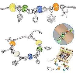 Sun studio Charm Armband Kit DIY Schmuck Bastelset Mädchen Handwerk Perle überzogen mit Silber Kette Schmuck Mädchen für Basteln MEHRWEG