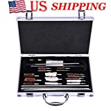Universal Gun Cleaning Kit, Hunting Rifle Handgun Shot Gun Cleaning Kit for All Guns with Case Travel Size Portable Metal BrUSAhes,Shipped from the USA