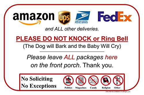 Leave Package Sign - Do Not Knock or Ring Bell (Dog Will Bark & Baby Will Cry)