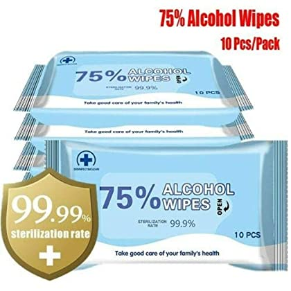 Toallitas desechables con alcohol | 75% de alcohol | 10 toallitas por paquete | Toallitas de mano grandes portátiles…