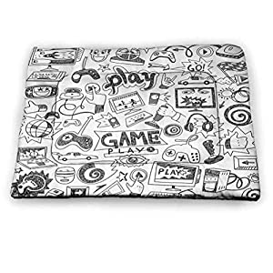 prunushome Pet Cushion Dog Bed Video Games Dog Placemats for The Floor Black and White Sketch Style Gaming Design Racing Monitor Device Gadget Teen 90s for Dog Sleeping Blak White (46″x30″)