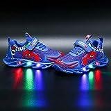 DTZW Zapatillas de Deporte con luz LED Intermitente, para niños y niñas, Estilo araña, Informales, Ligeras, Transpirables(Size:23,Color:Azul)