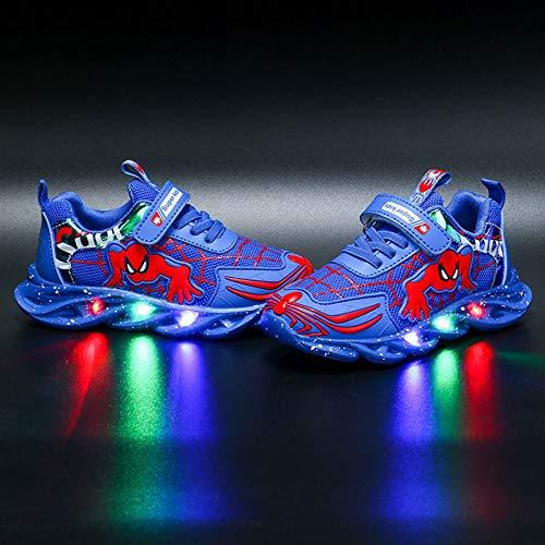DTZW Zapatillas de Deporte con luz LED Intermitente, para niños y niñas, Estilo araña, Informales, Ligeras, Transpirables(Size:29,Color:Azul)
