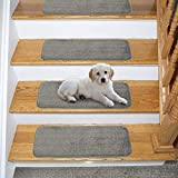 Ottomanson Comfort Soft Shag Carpet Stair Treads, 14-Pack, Gray, 14 Count