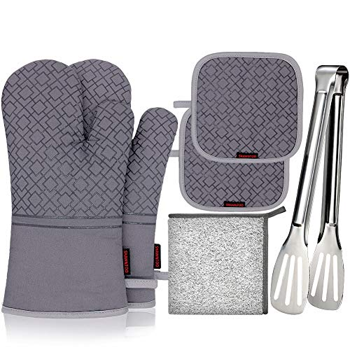 SHAWNTOO Oven Mitts and Pot Holders 6pcs Set, 500℉ Heat Resistant Soft Lining with Non-Slip...